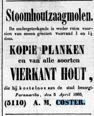 Advertentie Surinaamsche courant  6 april 1865