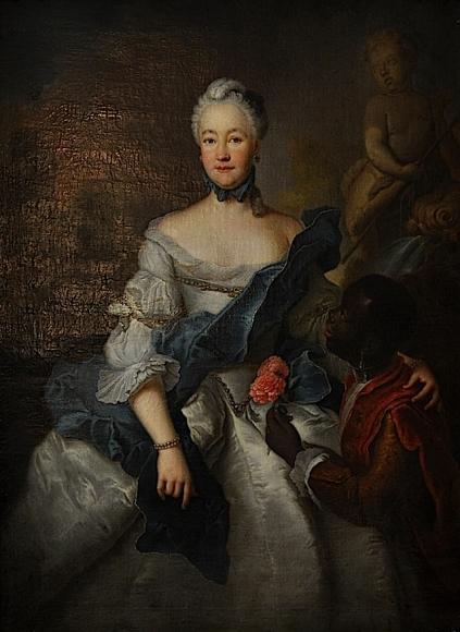 1750 Caroline von Hessen-Darmstadt mit ihrem Mohren by Antoine Pesne