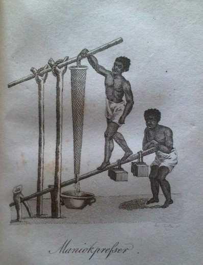 Het persen van de manioc