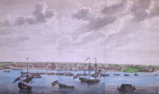 Gezicht op Paramaribo (18e eeuw)