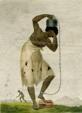 Female slave with a weight chained to her ankle (Stedman 1796)
