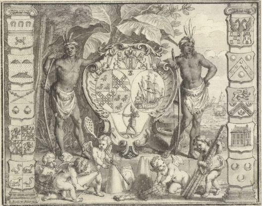 De wapens van Suriname, Bernard Picart, 1720 (collectie: Rijksmuseum)