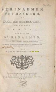 Titelblad Surinaemen Ontmaskerd (1776). Collectie: Koninklijke Bibliotheek