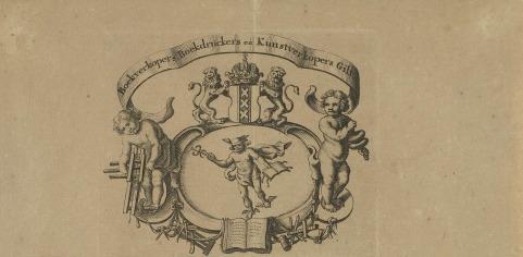 Gildebrief van het Amsterdamse Boekverkopers, Boekdrukkers en Kunstverkopersgilde (detail). Collectie Rijksmuseum.