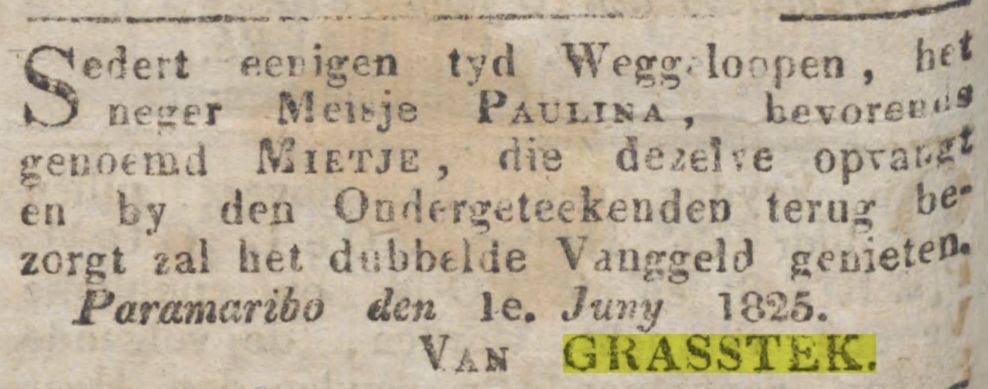 Grasstek Gepriviligeerde Surinaamsche Courant 6 juni 1825