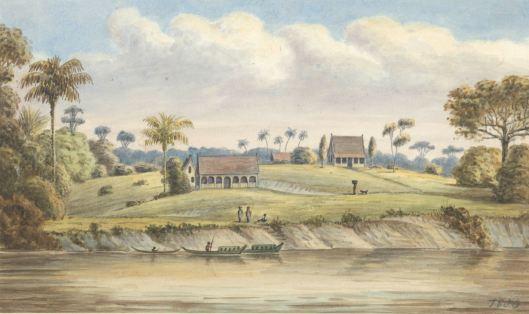 Gezicht op Port Victoria gelegen aan de Suriname rivier, Jacob Marius Adriaan Martini van Geffen, 1850